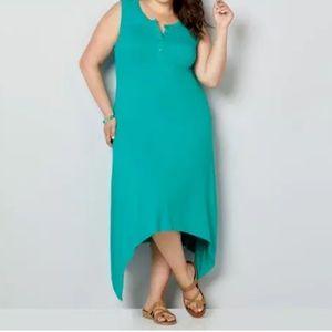 AVENUE Turquoise Shark Bite Hem Dress Plus 18/20